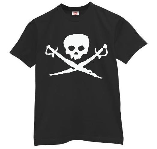 Skull Logo Printed T Shirts For Mens , Cotton Spandex Cool Printed T Shirts