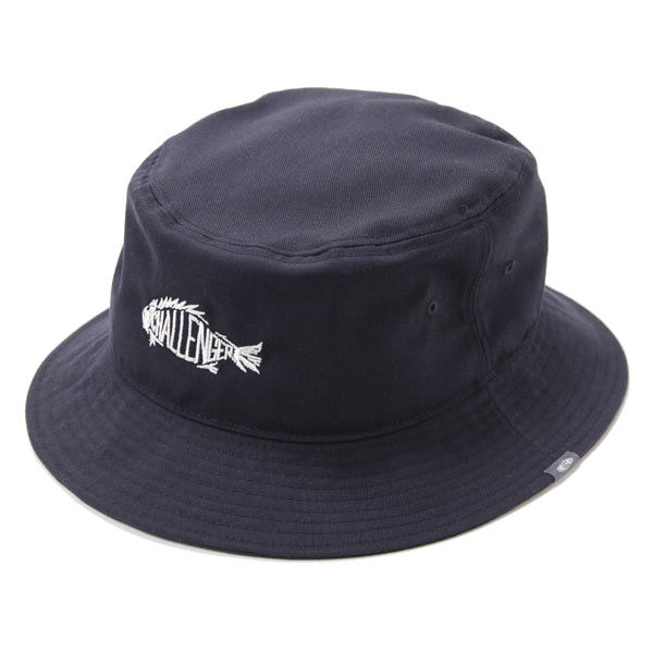 Navy / Black Spiral Full Cotton Bucket Hat Embroidery Fish Bone Logo Founded