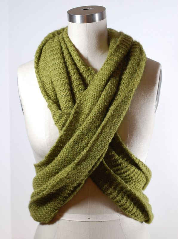 Green Wide Circle Winter Knitted Scarf Chunky Crochet Patterns Available