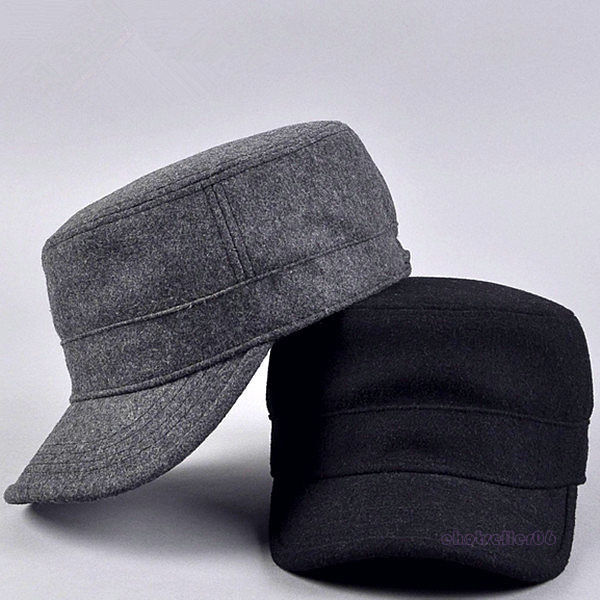 Curved Visor Adult Wool Cotton Quality Mens Military Army Winter Warm Metal Strap Flat Top Hat Cap